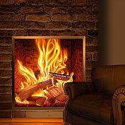 Для дома и интерьера handmade. Livemaster - original item Decorative panels: Light panel - the Warmth of a burning fireplace. Handmade.