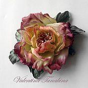 Цветы и флористика ручной работы. Ярмарка Мастеров - ручная работа цветок из натурального шелка открытая роза. Handmade.