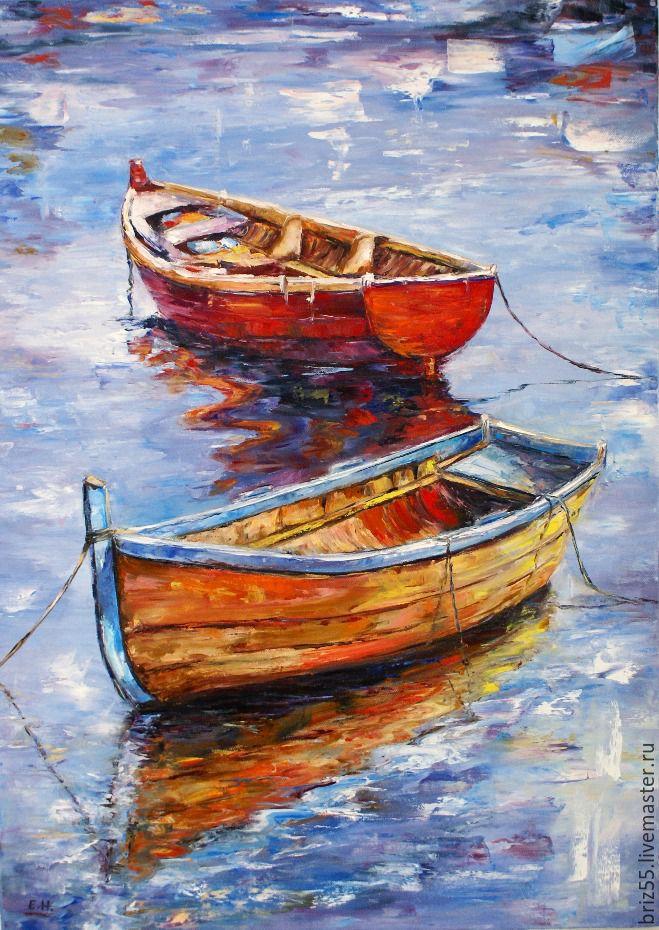 Картинки с лодками маслом, так мило