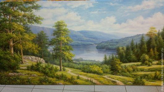 "картина ""Лесной пейзаж""\r\nкартина выполнена на холсте размером 180х90 масляными красками.\r\nможно заказать любой размер картины,\r\nручная работа - холст, масло."