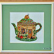 """Картины и панно ручной работы. Ярмарка Мастеров - ручная работа Вышитая картина """"Чайник зеленый"""". Handmade."""