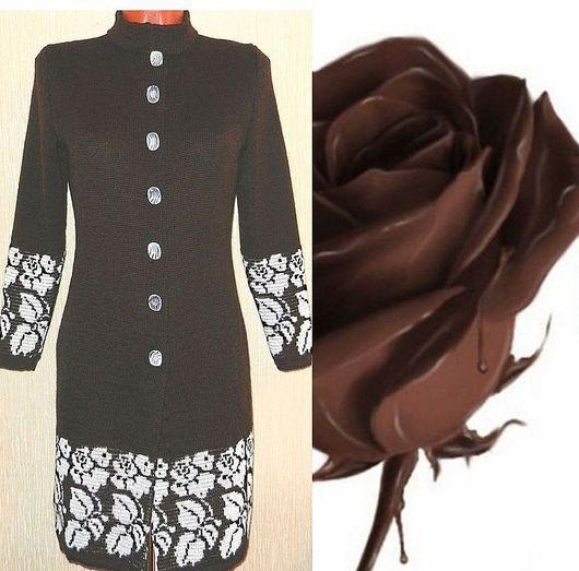 Верхняя одежда ручной работы. Ярмарка Мастеров - ручная работа. Купить Пальто вязаное Белая роза, темный шоколад. Handmade.