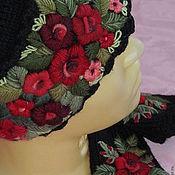 Аксессуары ручной работы. Ярмарка Мастеров - ручная работа Женская шапочка с ручной вышивкой   черная. Handmade.