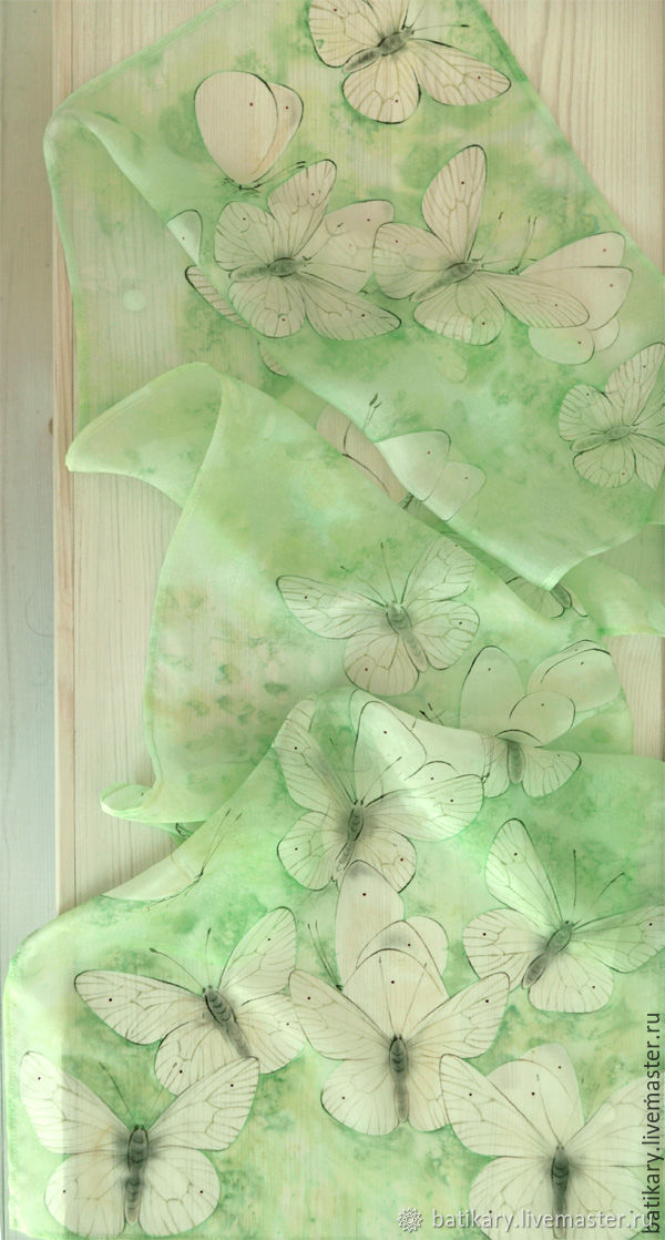 Scarf silk of Cabbage and mint, Scarves, Warsaw,  Фото №1