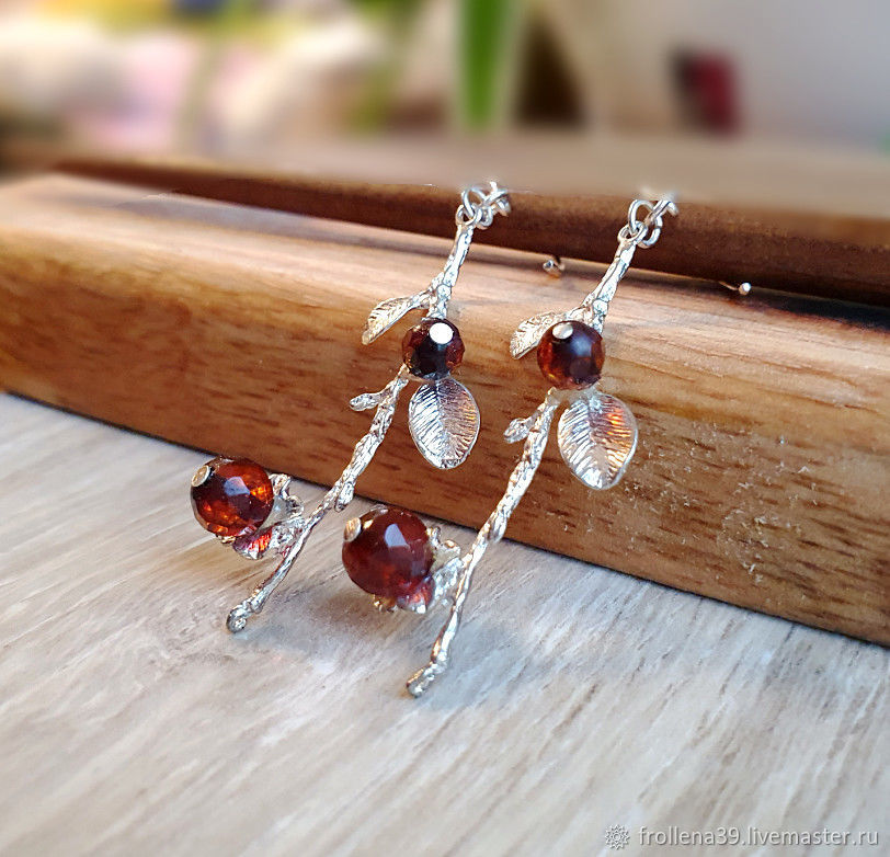Amber. Earrings 'First frost' amber silver, Earrings, Moscow,  Фото №1