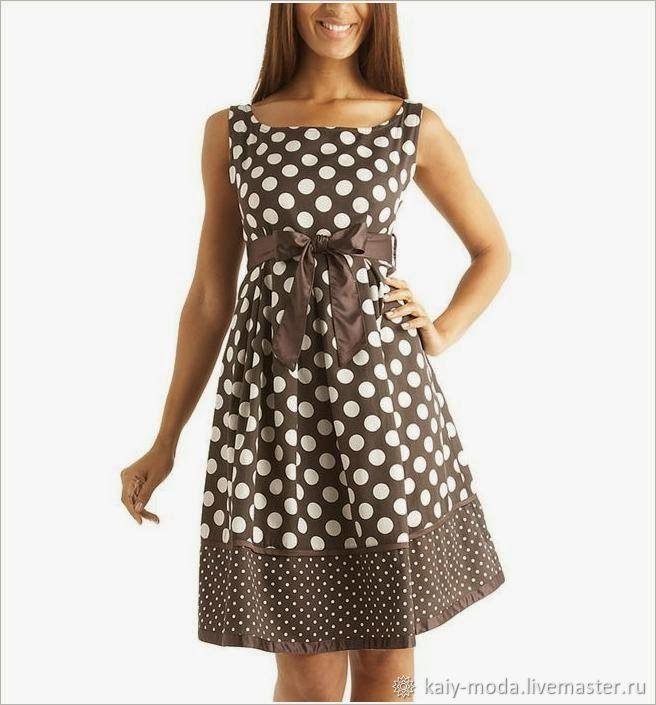 Верхняя одежда ручной работы. Ярмарка Мастеров - ручная работа. Купить Летнее платье в горошек. Handmade. Коричневый, платье в горошек