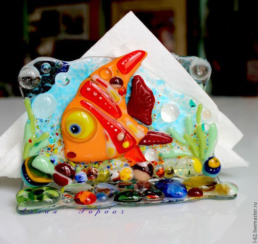 Kitchen handmade. Livemaster - handmade. Buy napkin holder made of glass, fusing There on the sea-okiyane'.