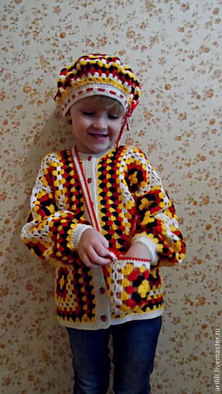 Одежда для девочек, ручной работы. Ярмарка Мастеров - ручная работа. Купить комплект вязаный детский Бабушкин квадрат. Handmade.