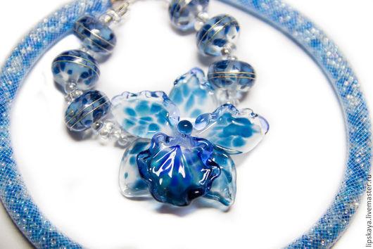 """Колье, бусы ручной работы. Ярмарка Мастеров - ручная работа. Купить Колье """"Синяя орхидея"""". Handmade. Синяя орхидея, орхидея"""