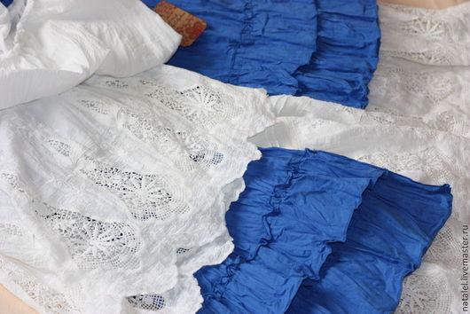 """Блузки ручной работы. Ярмарка Мастеров - ручная работа. Купить Блузка и юбка """"Лазурное бохо-2""""  ажурное кружево прованс винтаж. Handmade."""