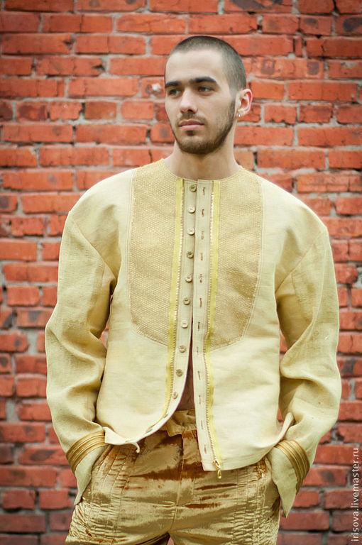 """Этническая одежда ручной работы. Ярмарка Мастеров - ручная работа. Купить Рубашка мужская лен """" Мой золотой"""". Handmade."""