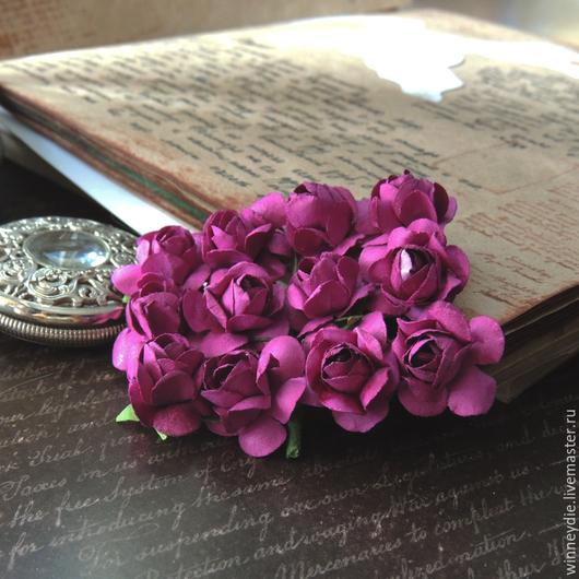 Открытки и скрапбукинг ручной работы. Ярмарка Мастеров - ручная работа. Купить Цветы розы фуксия 12 шт. Handmade. Фуксия
