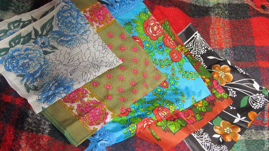 Винтажная одежда и аксессуары. Ярмарка Мастеров - ручная работа. Купить Винтажные платочки. Handmade. Цветочный, материалы для творчества, бахрома, малиновый