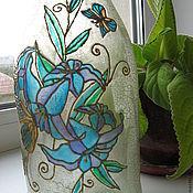 """Для дома и интерьера ручной работы. Ярмарка Мастеров - ручная работа Ваза """"И цветы и бабочки"""", """"Голубая"""". Handmade."""