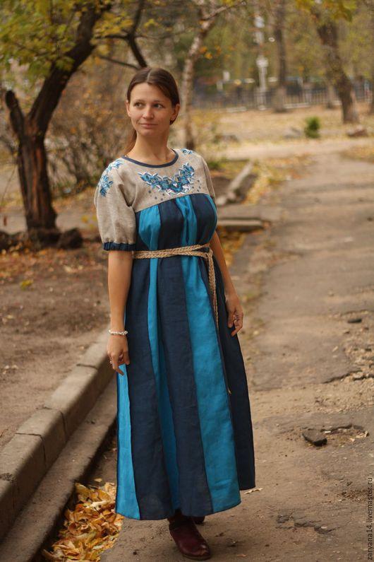 """Платья ручной работы. Ярмарка Мастеров - ручная работа. Купить Платье вышитое """"Бирюзовые цветы"""". Handmade. Тёмно-бирюзовый"""