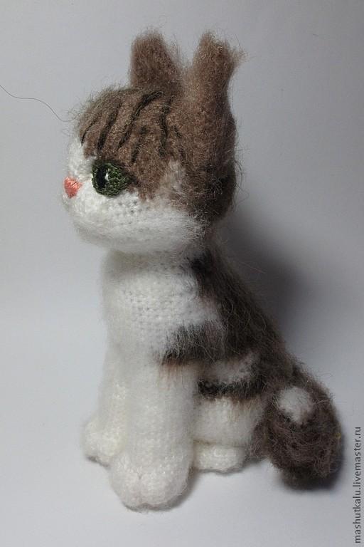 Купить Серый кот - игрушка вязанная крючком - серый, кот ...
