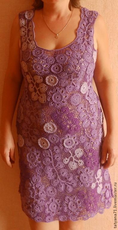 Платья ручной работы. Ярмарка Мастеров - ручная работа. Купить Платье из хлопка Сиреневое настроение. Handmade. Фиолетовый, платье крючком