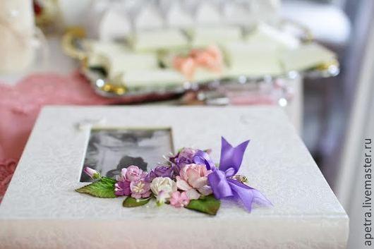 """Свадебные фотоальбомы ручной работы. Ярмарка Мастеров - ручная работа. Купить Свадебный фотоальбом """"Цветение роз сиреневое"""". Handmade. Сиреневый"""