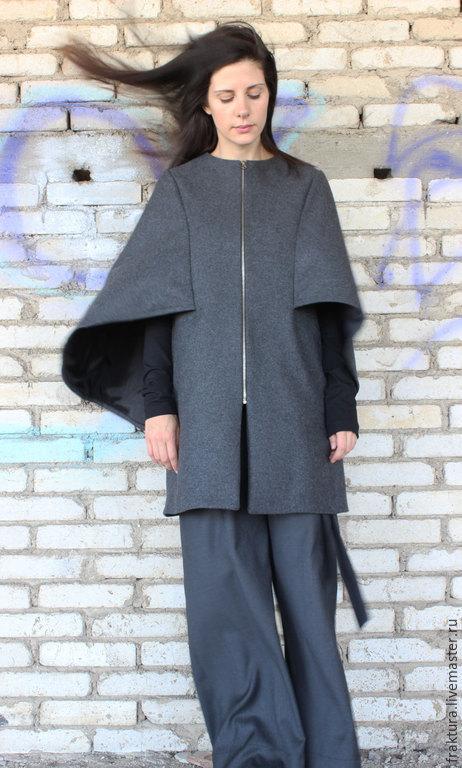 """Верхняя одежда ручной работы. Ярмарка Мастеров - ручная работа. Купить Пальто """"Пелерина"""" C0004. Handmade. Серый, Дизайнерское пальто"""