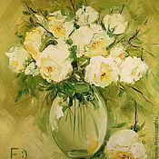 Картины ручной работы. Ярмарка Мастеров - ручная работа Картина маслом на холсте. Розы в стеклянной вазе.. Handmade.