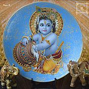 Посуда handmade. Livemaster - original item Decorative wall plates, Glass panels, Indian gods. Handmade.