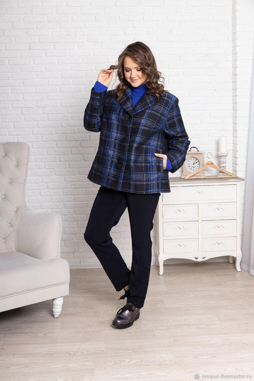 Loose-fitting plaid jacket Royal blue, Jackets, Novosibirsk,  Фото №1