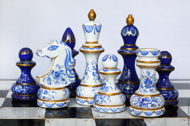 Памятный подарок шахматы,гжель,бело-синий,кобальт,золото,лак,шахматная доска,деревянные шахматы,классические шахматы,шахматы ручной работы,ручная роспись.Алевтина Белякова(Каисса) Ярмарка Мастеров.