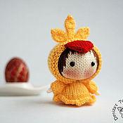 Куклы и игрушки ручной работы. Ярмарка Мастеров - ручная работа Маленькая куколка Жёлтая Цыпочка из серии Tanoshi. Пасхальный сувенир. Handmade.