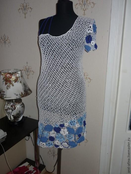 Платья ручной работы. Ярмарка Мастеров - ручная работа. Купить вязаное крючком  платье Бегущая по волнам. Handmade. Разноцветный
