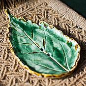 """Для дома и интерьера ручной работы. Ярмарка Мастеров - ручная работа Коллекция мыльниц ручной работы """"Лист зеленый"""". Handmade."""