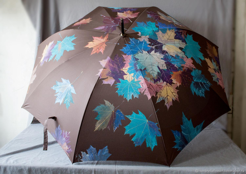 Large hand-painted umbrella in chocolate color, Umbrellas, St. Petersburg,  Фото №1