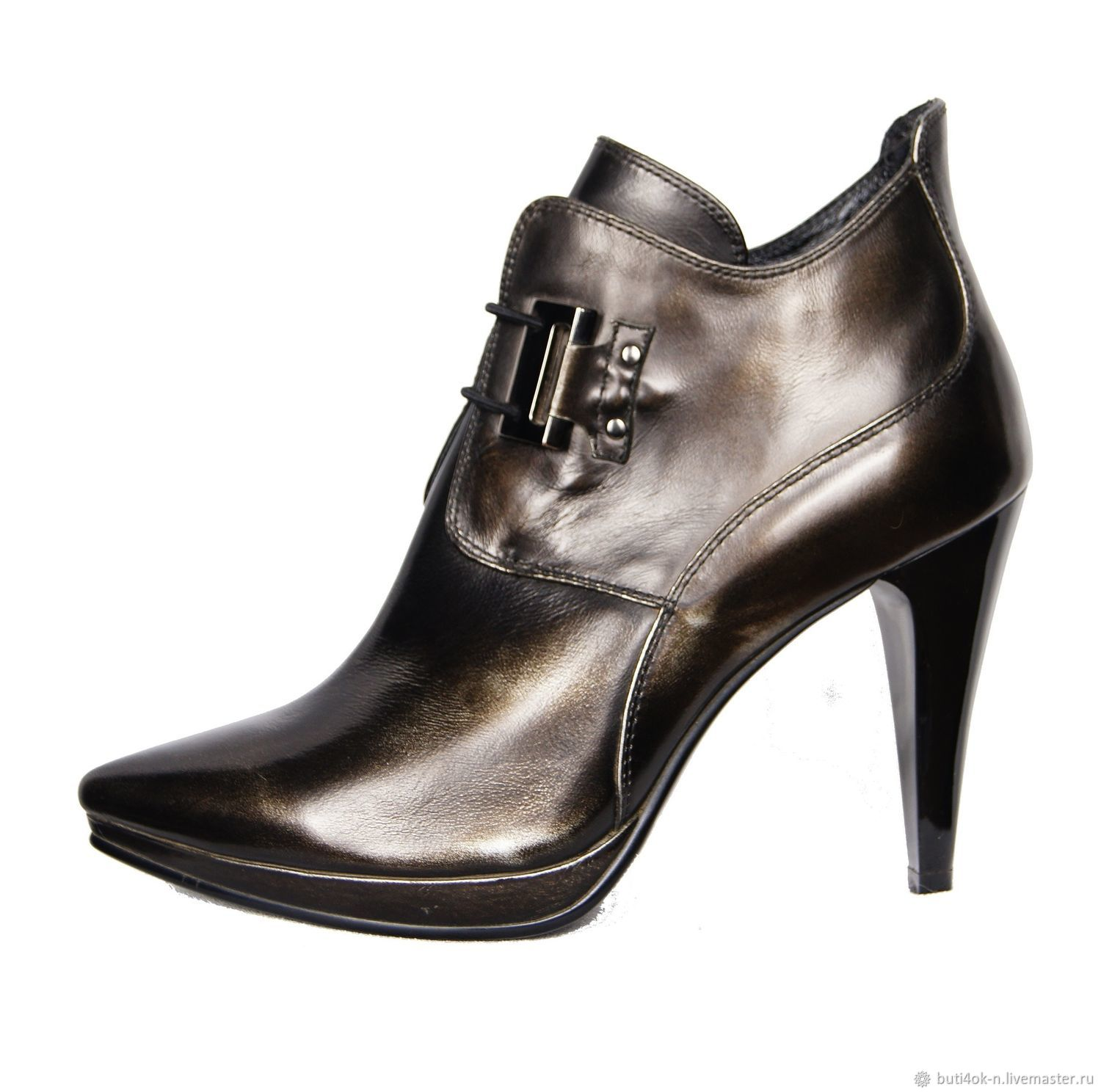 Black ankle boots rubber genuine leather with a Golden sheen, Ankle boots, Nelidovo,  Фото №1