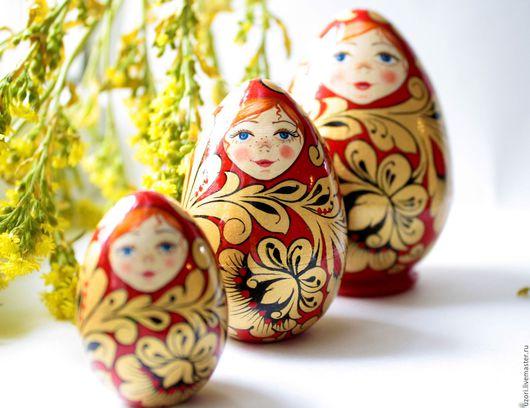 """Подарки на Пасху ручной работы. Ярмарка Мастеров - ручная работа. Купить Яйцо матрешка """"Золотая хохлома"""". Handmade. Пасхальное яйцо"""