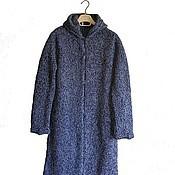 Одежда ручной работы. Ярмарка Мастеров - ручная работа Вязаное меланжевое пальто с капюшоном 102. Handmade.