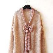 Одежда ручной работы. Ярмарка Мастеров - ручная работа Кардиган с шарфом- бантом из кид-мохера. Handmade.