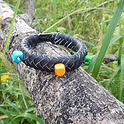 Браслет плетеный ручной работы. Ярмарка Мастеров - ручная работа Кожаный плетеный браслет Летнее настроение. Handmade.
