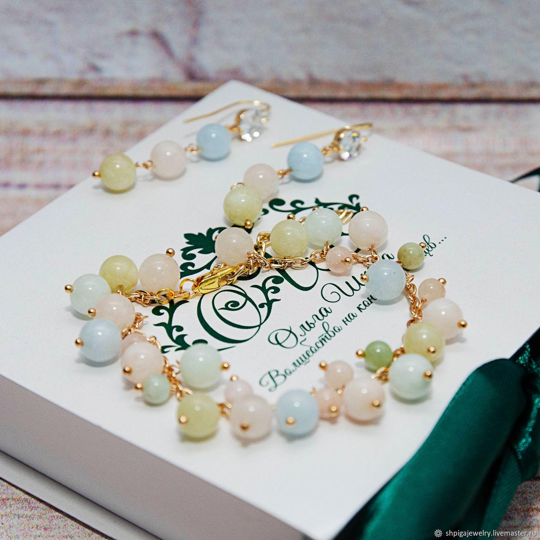 Нежный комплект из натурального берилла браслет серьги Cinnie, Комплекты украшений, Буденновск,  Фото №1