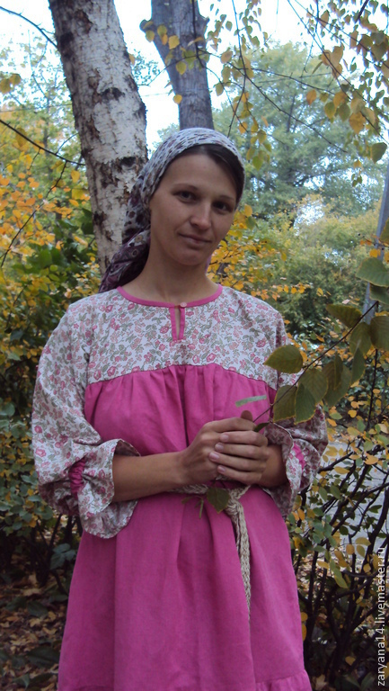Одежда ручной работы. Ярмарка Мастеров - ручная работа. Купить Платье алтайского покроя с сатиновым верхом. Handmade. Платье