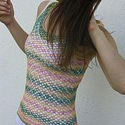 Одежда ручной работы. Ярмарка Мастеров - ручная работа Майка разноцветная ажурная вязаная крючком летняя. Handmade.