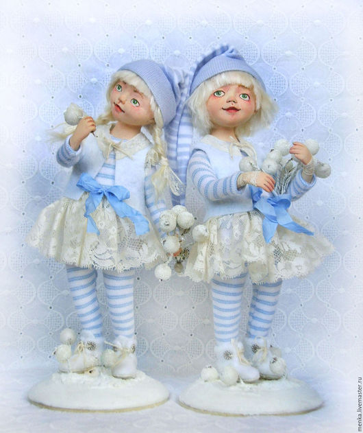 Коллекционные куклы ручной работы. Ярмарка Мастеров - ручная работа. Купить Девочки-снежинки.. Handmade. Белый, снегурочка, трикотаж