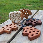 Игрушки-шнуровки ручной работы. Ярмарка Мастеров - ручная работа Шнуровка барашек. Handmade.