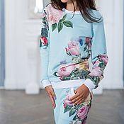 """Одежда ручной работы. Ярмарка Мастеров - ручная работа Комплект """"Чайная роза"""" голубой. Handmade."""