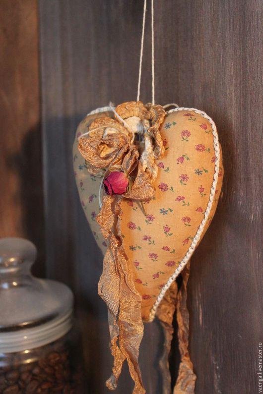 Подвески ручной работы. Ярмарка Мастеров - ручная работа. Купить Текстильное сердце Ароматное. Handmade. Коричневый, текстиль для интерьера, хлопок
