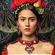Украшения handmade. Livemaster - original item Set necklace and earrings women Swarovski, Jasper, red. Handmade.