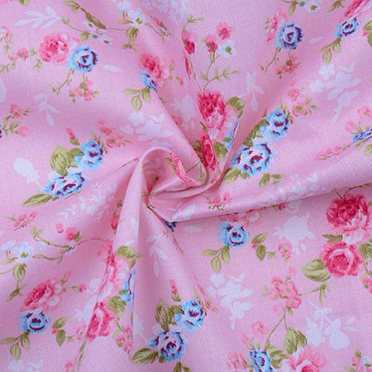 """Шитье ручной работы. Ярмарка Мастеров - ручная работа. Купить Хлопковая ткань """"Цветы на розовом"""". Handmade. Ткань, ткань для рукоделия"""
