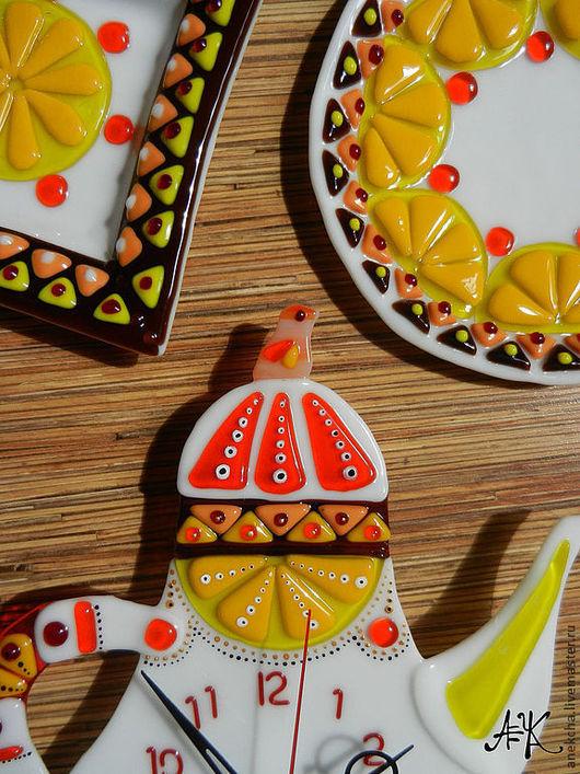 """Тарелки ручной работы. Ярмарка Мастеров - ручная работа. Купить """"Цитрусовый чай,"""" комплект для кухни. Handmade. Оранжевый, часы"""