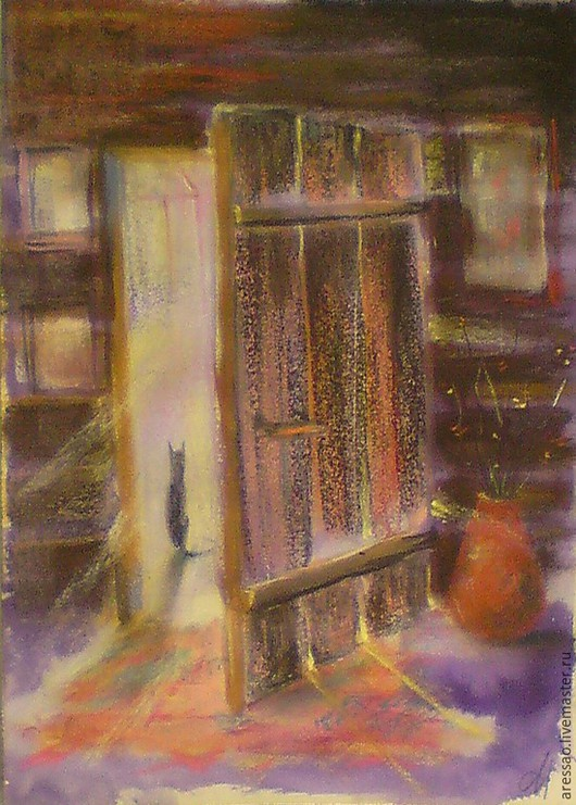"""Животные ручной работы. Ярмарка Мастеров - ручная работа. Купить Картина """"Старая дверь. Дом художника"""". Handmade. Животные, дом"""