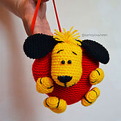 Подарки к праздникам ручной работы. Ярмарка Мастеров - ручная работа Вязаная игрушка желтая собака валентинка из акрила. Handmade.