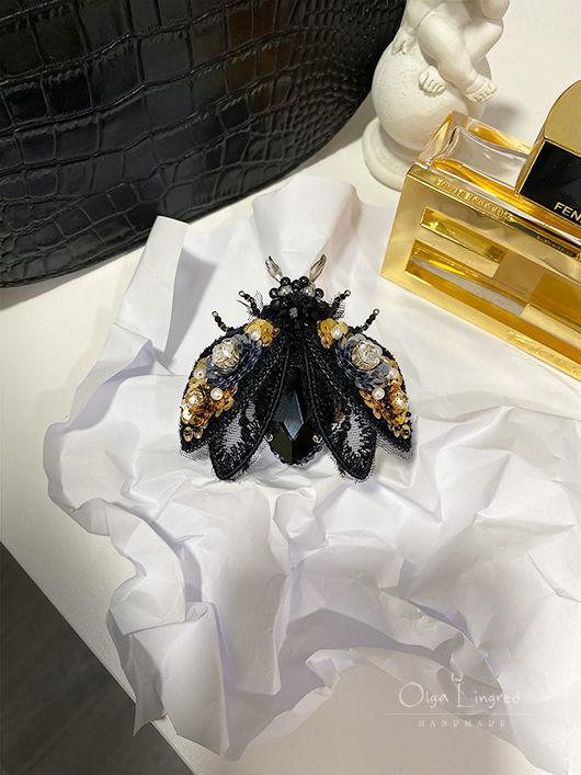 Брошь-жук чёрный ручной работы. Брошь чёрная в подарок, Брошь-булавка, Санкт-Петербург,  Фото №1