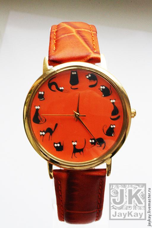 """Часы ручной работы. Ярмарка Мастеров - ручная работа. Купить Часы наручные JK """"12 котов в оранжевом"""". Handmade. Часы"""